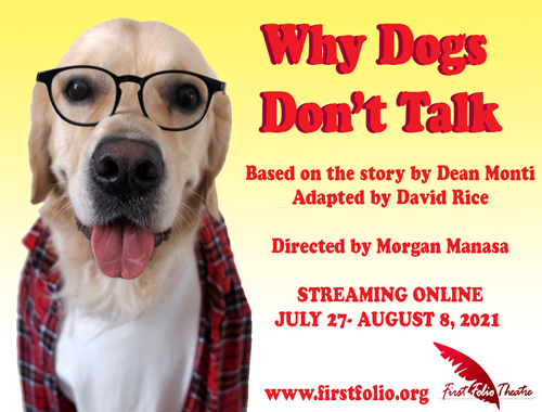 Logo for Why Dogs Don't Talk. A yellow labrador wearing a flannel shirt and glasses.